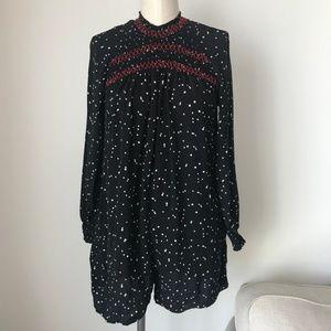 Zara Star Print Stitch Black Romper